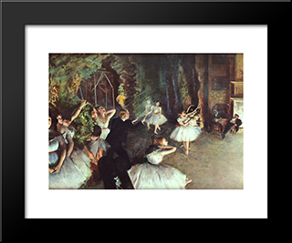 Rehearsal On The Stage: Modern Custom Black Framed Art Print by Edgar Degas