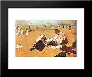At The Beach: Modern Custom Black Framed Art Print by Edgar Degas