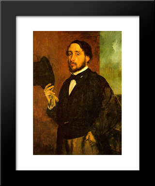 Self Portrait: Modern Custom Black Framed Art Print by Edgar Degas
