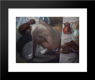 The Tub: Modern Custom Black Framed Art Print by Edgar Degas