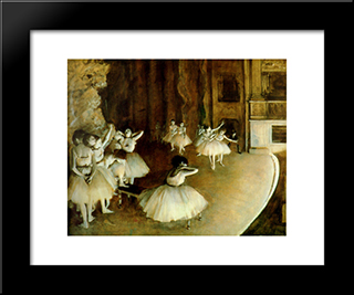 Ballet Rehearsal On Stage: Modern Custom Black Framed Art Print by Edgar Degas