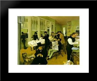 Portrait In A New Orleans Cotton Office: Modern Custom Black Framed Art Print by Edgar Degas
