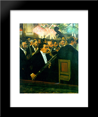 The Orchestra Of The Opera: Modern Custom Black Framed Art Print by Edgar Degas