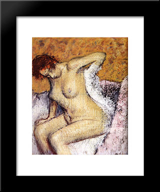 After The Bath: Modern Custom Black Framed Art Print by Edgar Degas