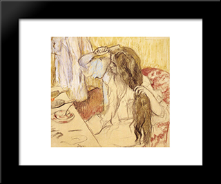 Woman At Her Toilet: Modern Custom Black Framed Art Print by Edgar Degas