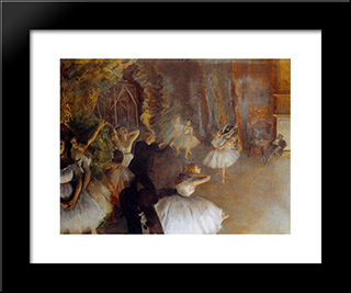 The Rehearsal Of The Ballet Onstage: Modern Custom Black Framed Art Print by Edgar Degas