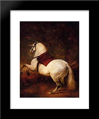 The White Horse: Modern Custom Black Framed Art Print by Diego Velazquez