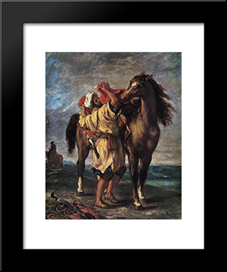 Marocan And His Horse: Modern Custom Black Framed Art Print by Eugene Delacroix