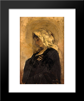 The Virgin Mary: Modern Custom Black Framed Art Print by Joaquin Sorolla