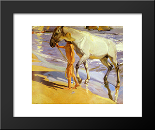 The Horse'S Bath: Modern Custom Black Framed Art Print by Joaquin Sorolla