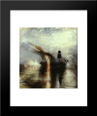 Peace ' Burial At Sea: Modern Custom Black Framed Art Print by Joseph Mallord William Turner