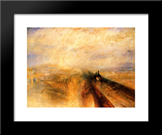 Rain, Steam And Speed ' The Great Western Railway: Modern Custom Black Framed Art Print by Joseph Mallord William Turner