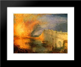 The Burning Of The Houses Of Parliament: Modern Custom Black Framed Art Print by Joseph Mallord William Turner