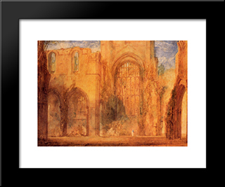 Interior Of Fountains Abbey, Yorkshire: Modern Custom Black Framed Art Print by Joseph Mallord William Turner
