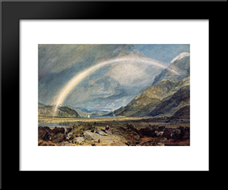 Kilchern Castle, With The Cruchan Ben Mountains, Scotland Noon: Modern Custom Black Framed Art Print by Joseph Mallord William Turner