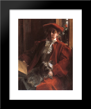 Emma Zorn And Mouche, The Dog: Modern Custom Black Framed Art Print by Anders Zorn