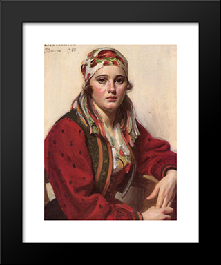 Ols Maria: Modern Custom Black Framed Art Print by Anders Zorn