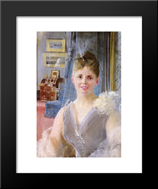 Portrait Of Edith Palgrave Edward In Her London Residence: Modern Custom Black Framed Art Print by Anders Zorn