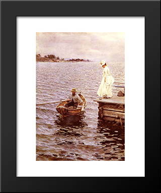 Sommarnoje: Modern Custom Black Framed Art Print by Anders Zorn