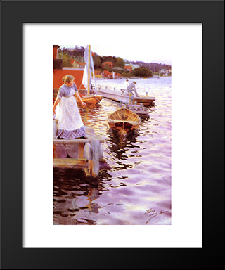 Lappings Of The Waves: Modern Custom Black Framed Art Print by Anders Zorn