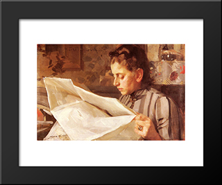 Emma Zorn, Lasande: Modern Custom Black Framed Art Print by Anders Zorn