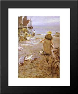 Fiskmarknad I St. Ives: Modern Custom Black Framed Art Print by Anders Zorn