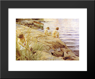 Out: Modern Custom Black Framed Art Print by Anders Zorn