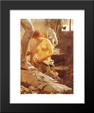I Wikstroms Atelje: Modern Custom Black Framed Art Print by Anders Zorn