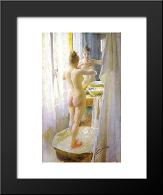 The Tub: Modern Custom Black Framed Art Print by Anders Zorn