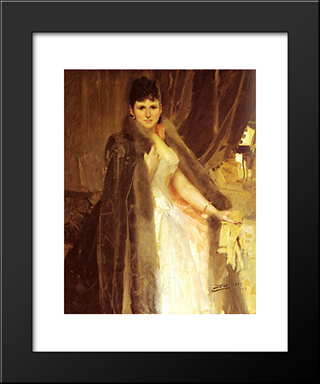Mrs. Symons: Modern Custom Black Framed Art Print by Anders Zorn