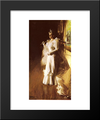 Mrs. Potter Palmer: Modern Custom Black Framed Art Print by Anders Zorn