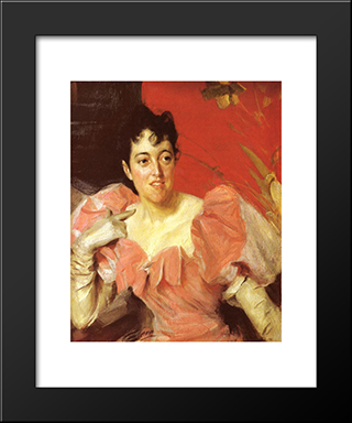 Mrs. Walter Bacon: Modern Custom Black Framed Art Print by Anders Zorn