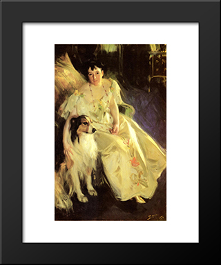Mrs. Bacon: Modern Custom Black Framed Art Print by Anders Zorn