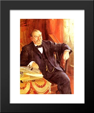 President Grover Cleveland: Modern Custom Black Framed Art Print by Anders Zorn
