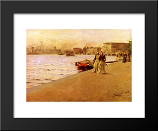 Utsikt Fran Skeppsholmskajen: Modern Custom Black Framed Art Print by Anders Zorn