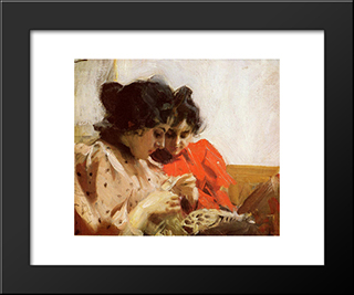 Spetssom: Modern Custom Black Framed Art Print by Anders Zorn