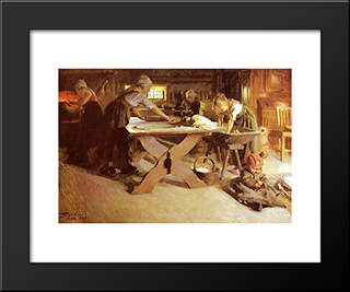 Brodbaket: Modern Custom Black Framed Art Print by Anders Zorn