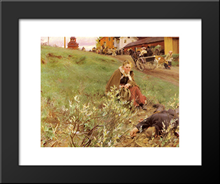 The Mora Fair: Modern Custom Black Framed Art Print by Anders Zorn