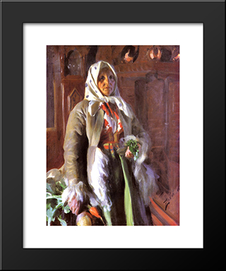 Mona: Modern Custom Black Framed Art Print by Anders Zorn