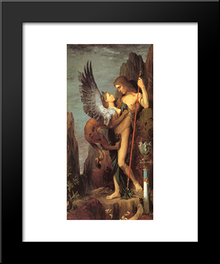 Oedipus And The Sphinx: Modern Custom Black Framed Art Print by Gustave Moreau