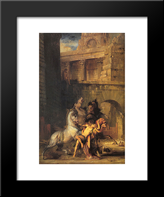 Diomedes Devoured By His Horses: Modern Custom Black Framed Art Print by Gustave Moreau