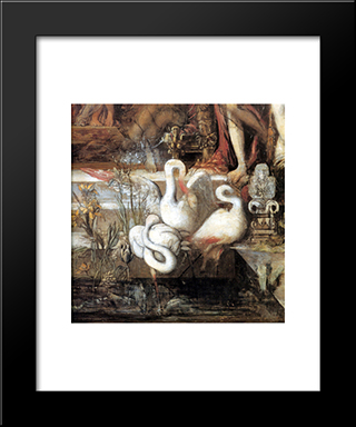 The Daughters Of Thespius ' Detail: Modern Custom Black Framed Art Print by Gustave Moreau