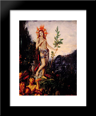 Apollo And The Satyrs: Modern Custom Black Framed Art Print by Gustave Moreau