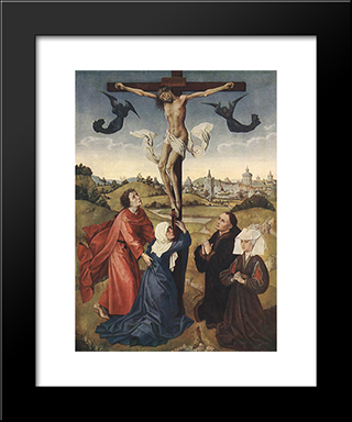Crucifixion Triptych: Central Panel: Modern Custom Black Framed Art Print by Rogier van der Weyden