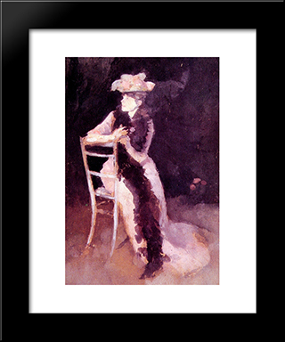 Rose And Silver: Portrait Of Mrs Whibley: Modern Custom Black Framed Art Print by James McNeill Whistler
