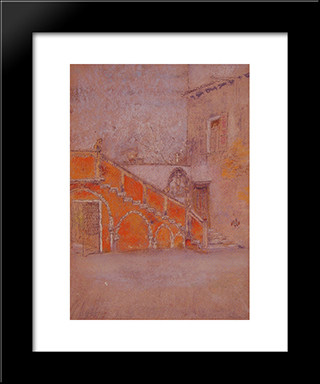 The Staircase: Note In Red: Modern Custom Black Framed Art Print by James McNeill Whistler