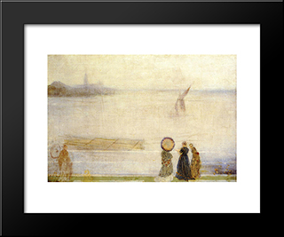 Battersea Reach: Modern Custom Black Framed Art Print by James McNeill Whistler