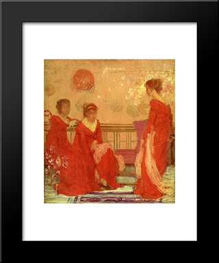 Harmony In Flesh Colour And Red: Modern Custom Black Framed Art Print by James McNeill Whistler