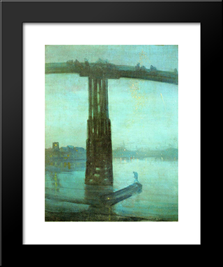 Nocturne: Blue And Gold ' Old Battersea Bridge: Modern Custom Black Framed Art Print by James McNeill Whistler