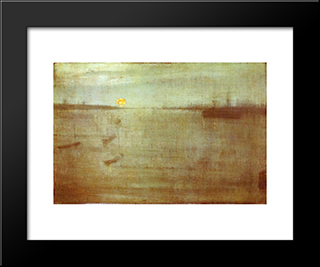 Nocturne: Blue And Gold ' Southampton Water: Modern Custom Black Framed Art Print by James McNeill Whistler